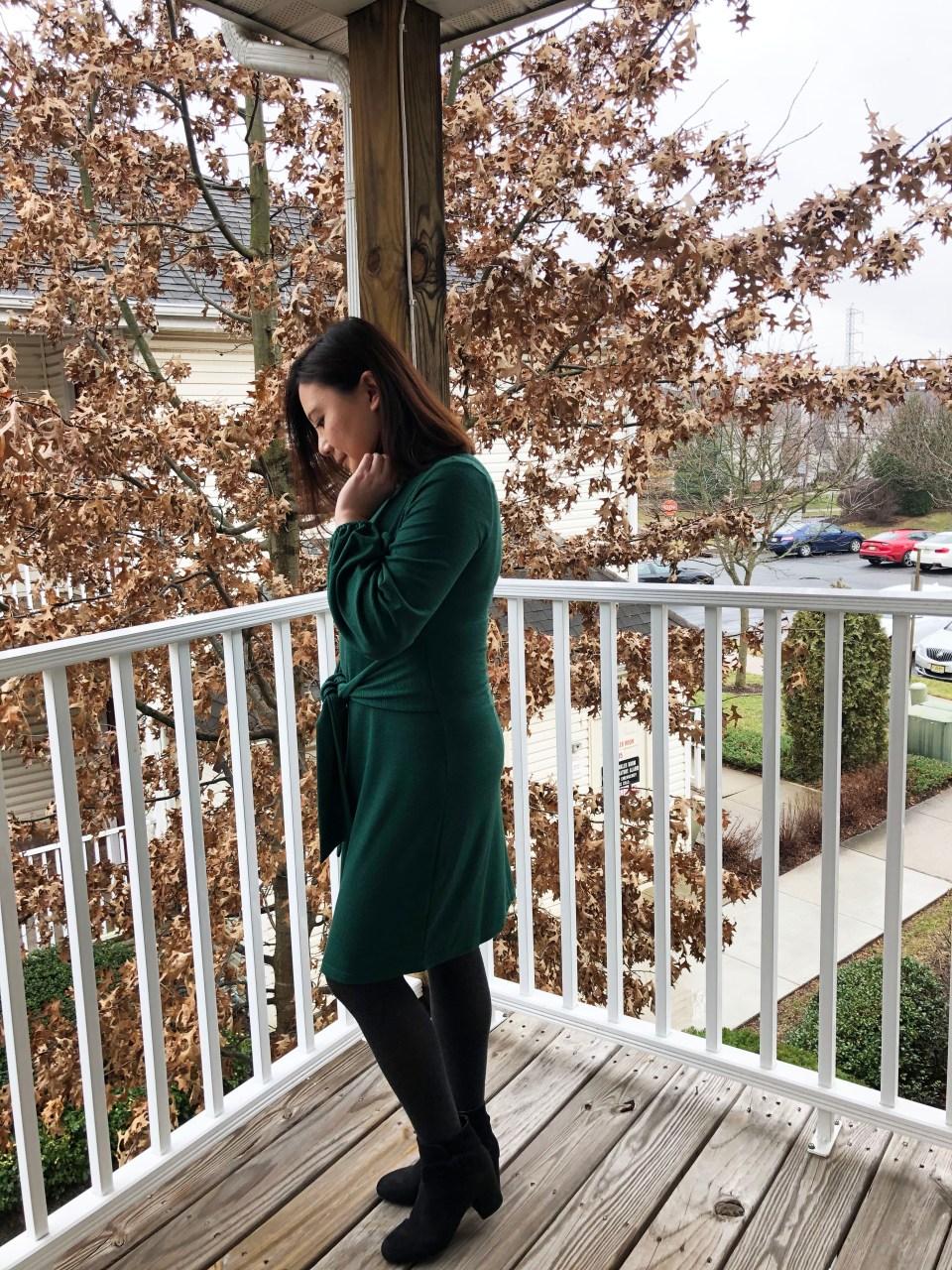 Green Tie Waist Dress 2
