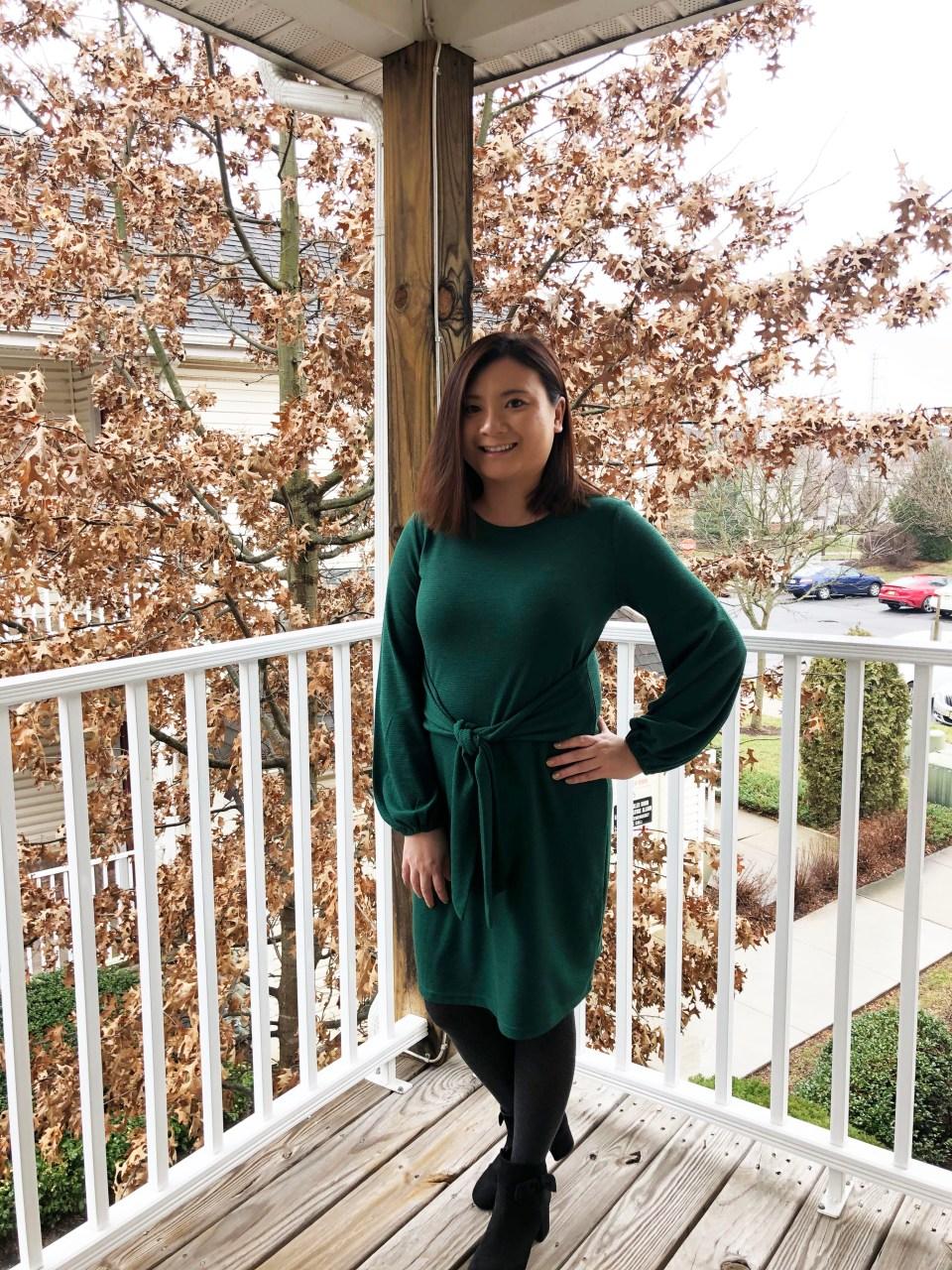 Green Tie Waist Dress 3