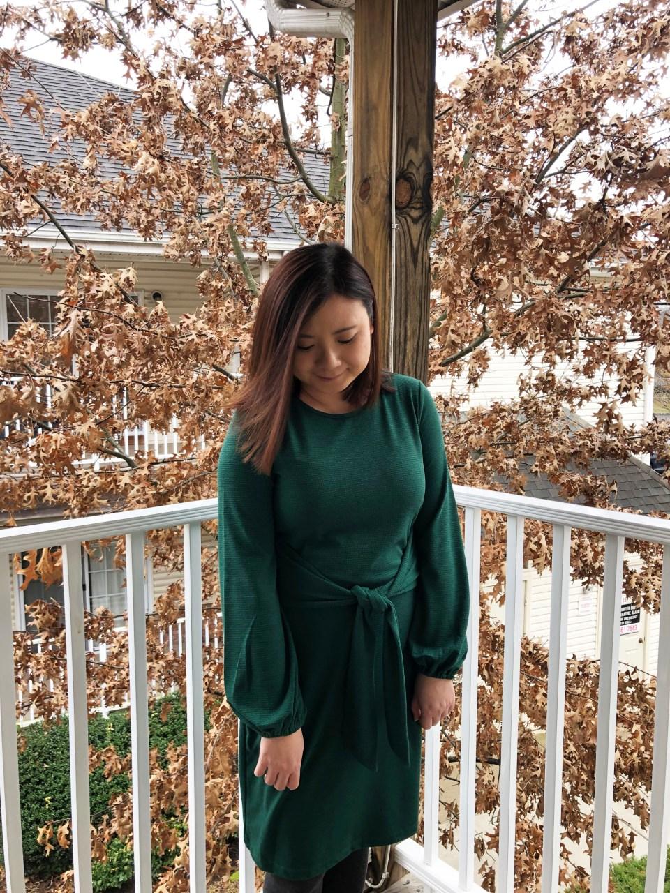 Green Tie Waist Dress 7