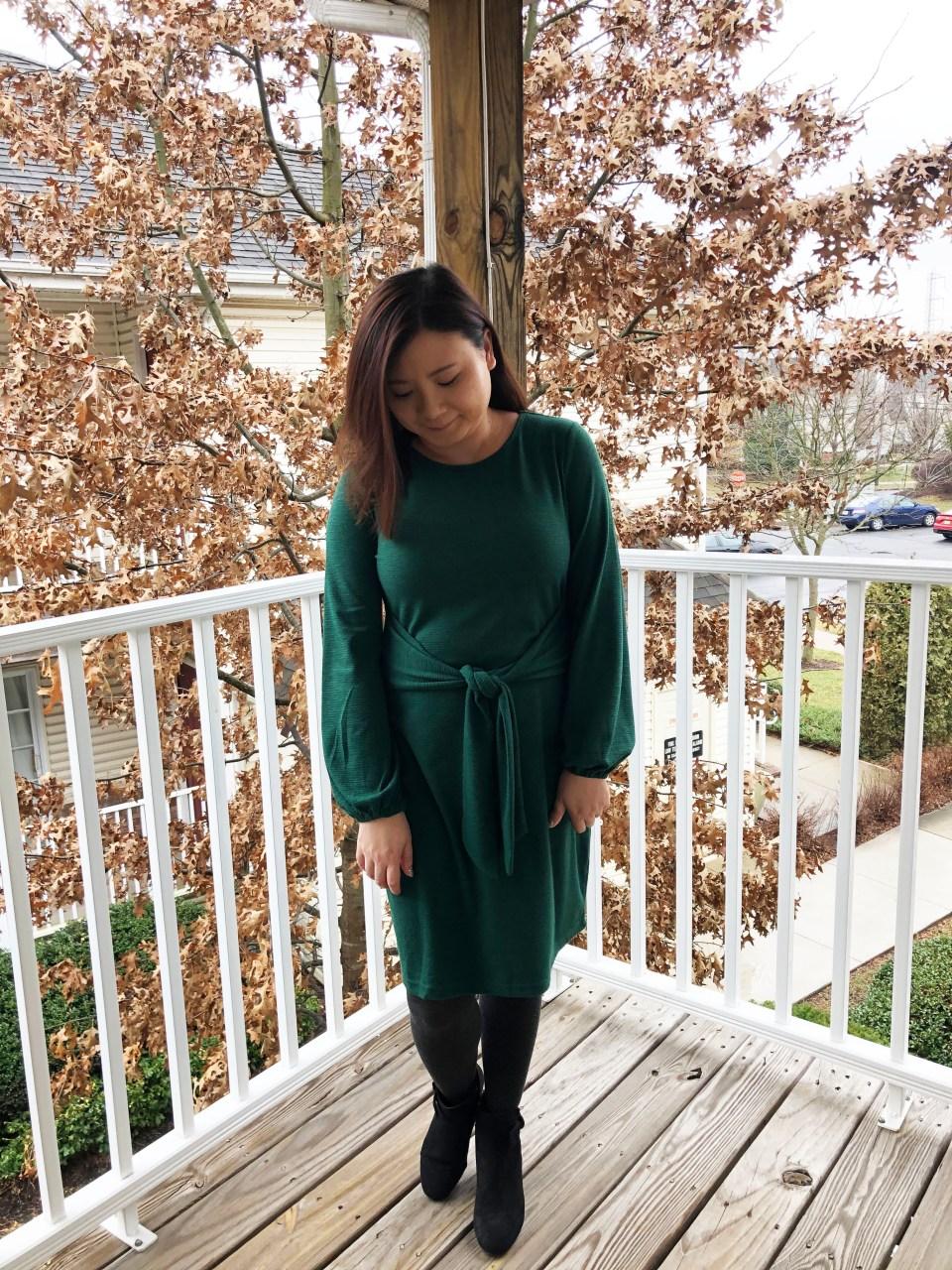 Green Tie Waist Dress