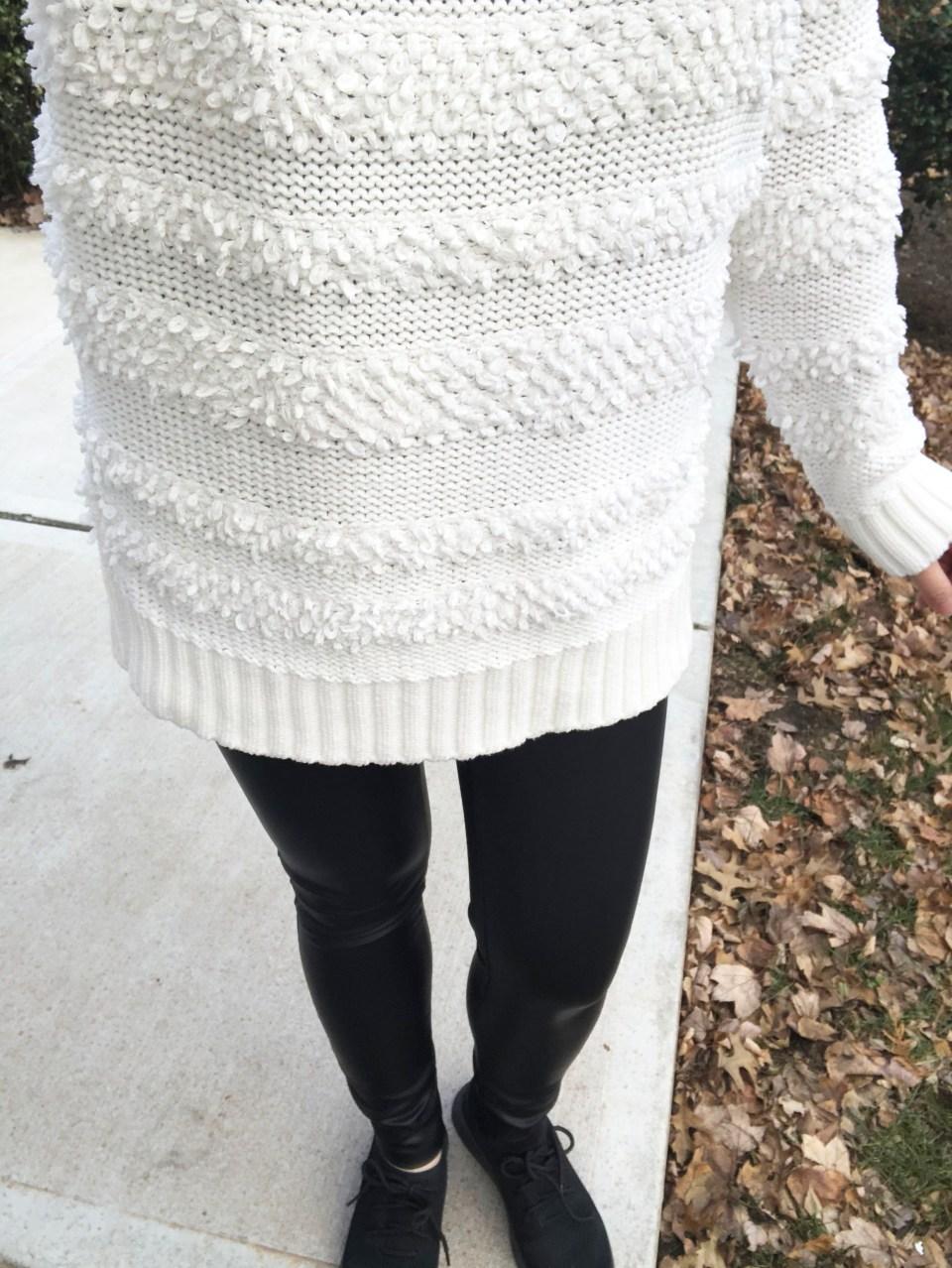 Loopstripe Sweater + Faux Leather Leggings 10