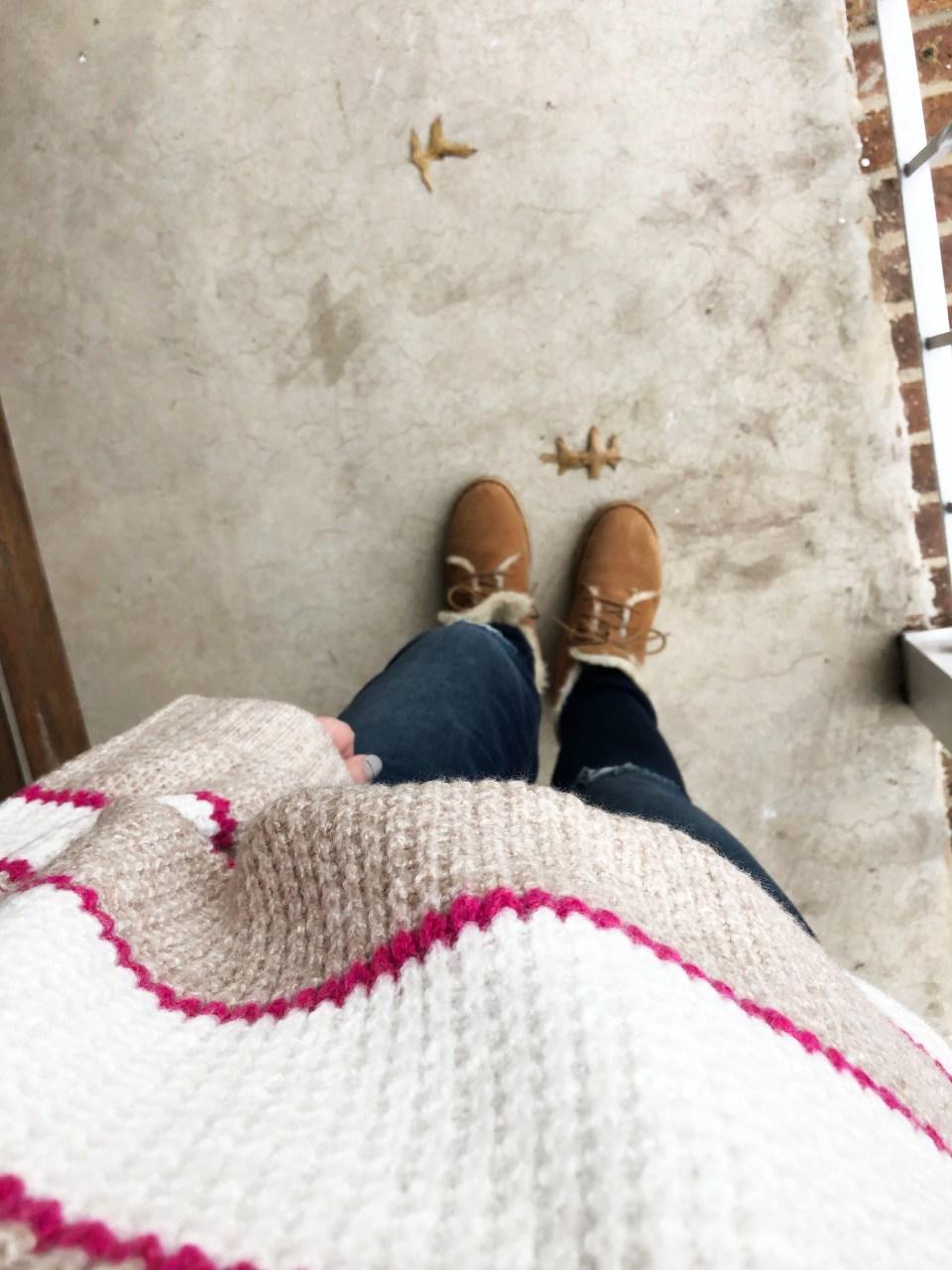 Pink & Beige Stripe Waffle Knit 15