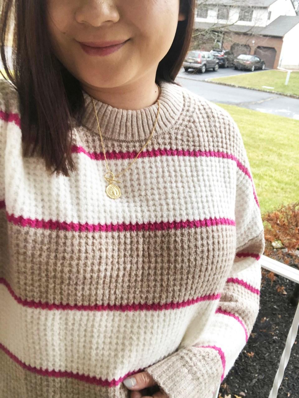 Pink & Beige Stripe Waffle Knit 16