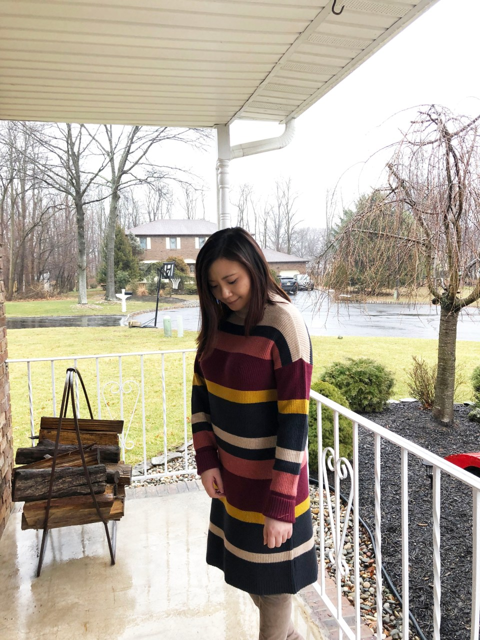 Striped Mockneck Sweater Dress 11