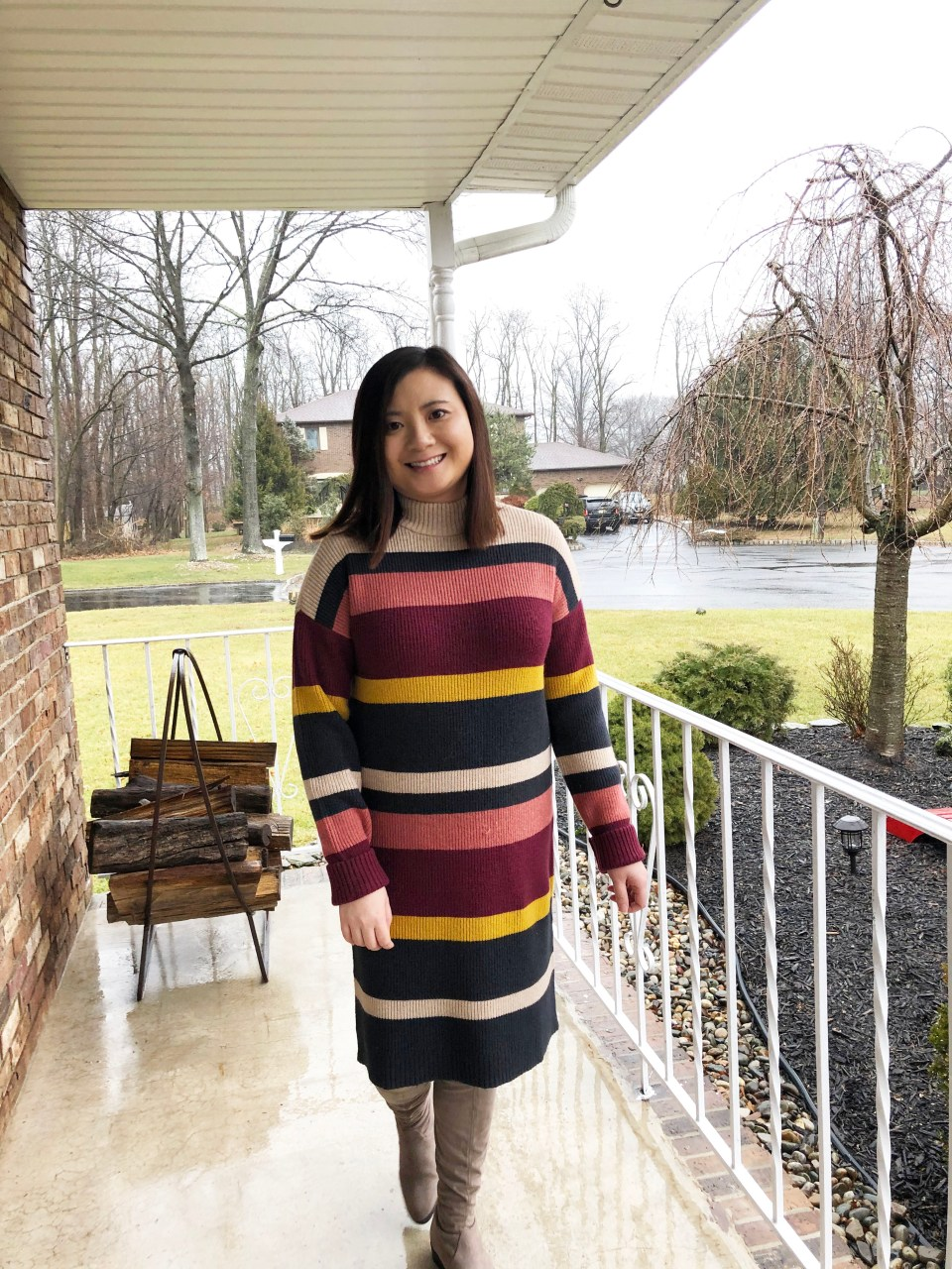 Striped Mockneck Sweater Dress 14