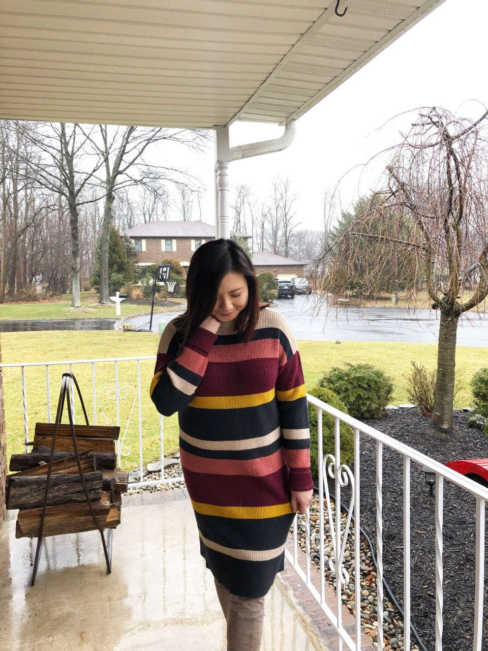Striped Mockneck Sweater Dress 4