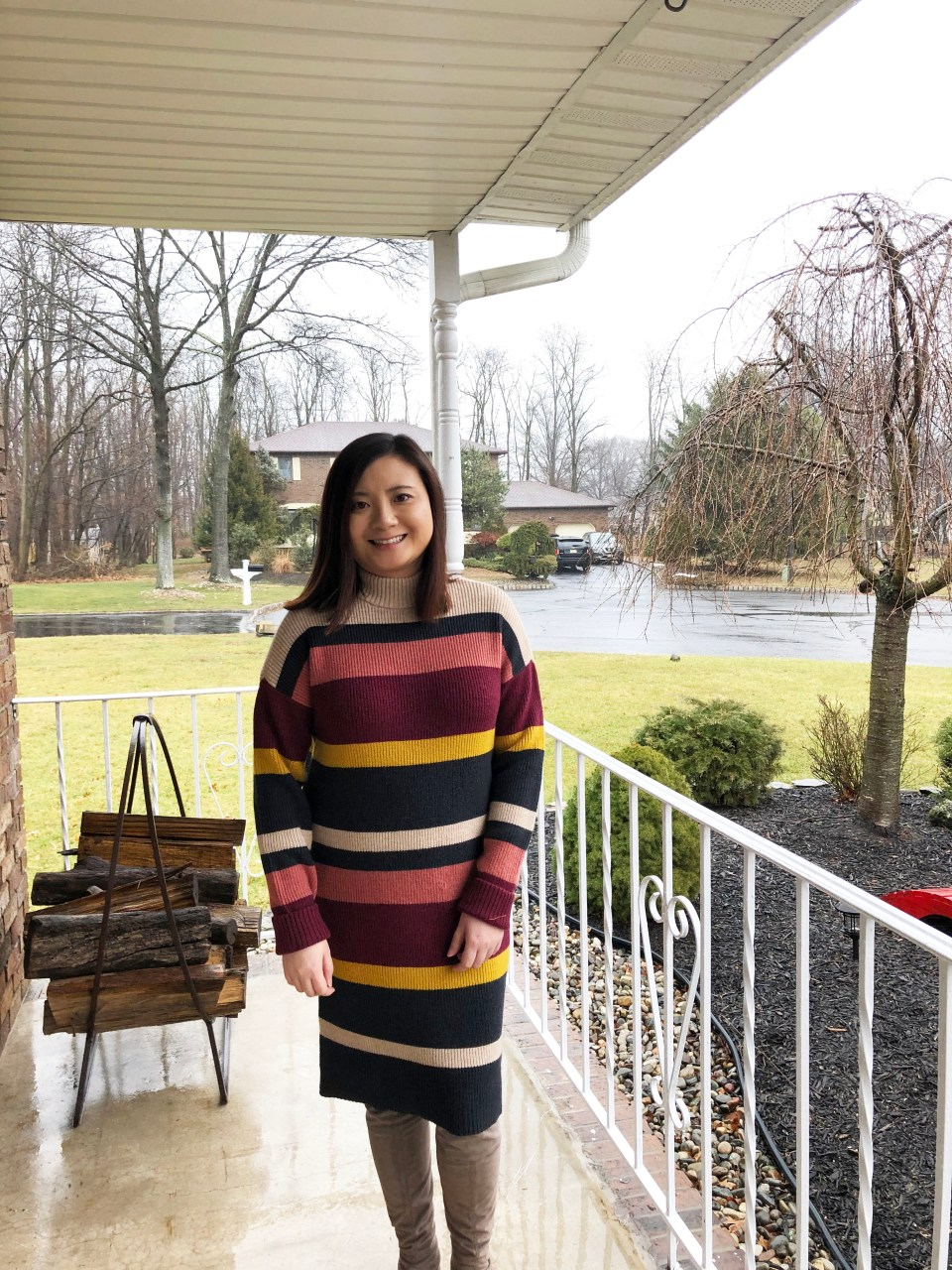 Striped Mockneck Sweater Dress 9