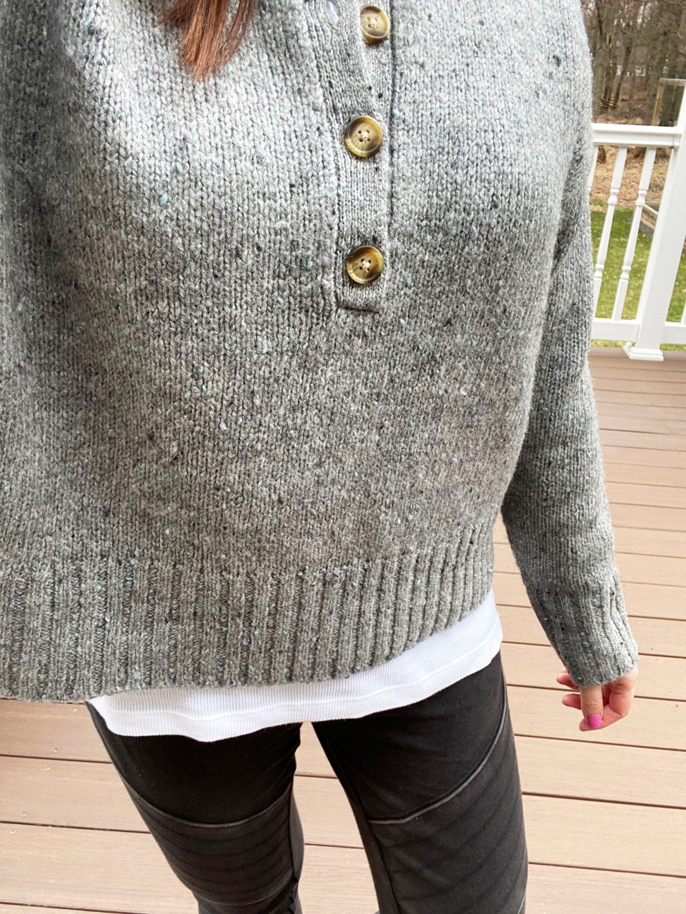 Grey Slouchy Henley Sweater 9
