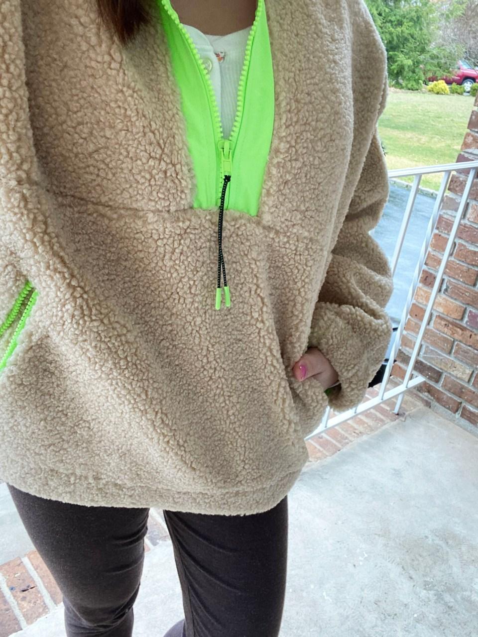 Neon Trim Shearling Pullover 14
