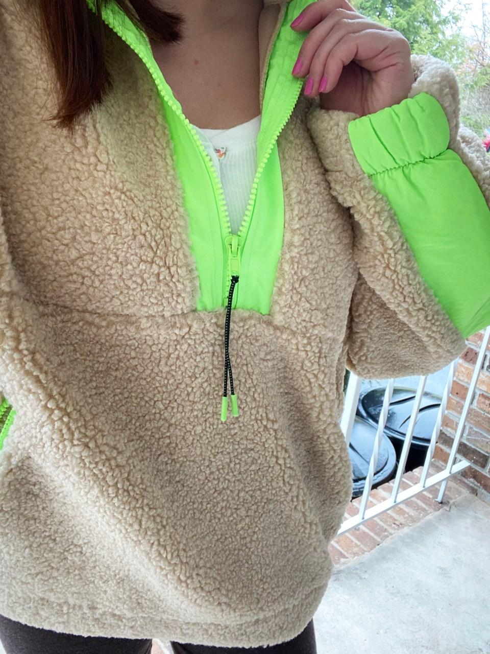 Neon Trim Shearling Pullover 15