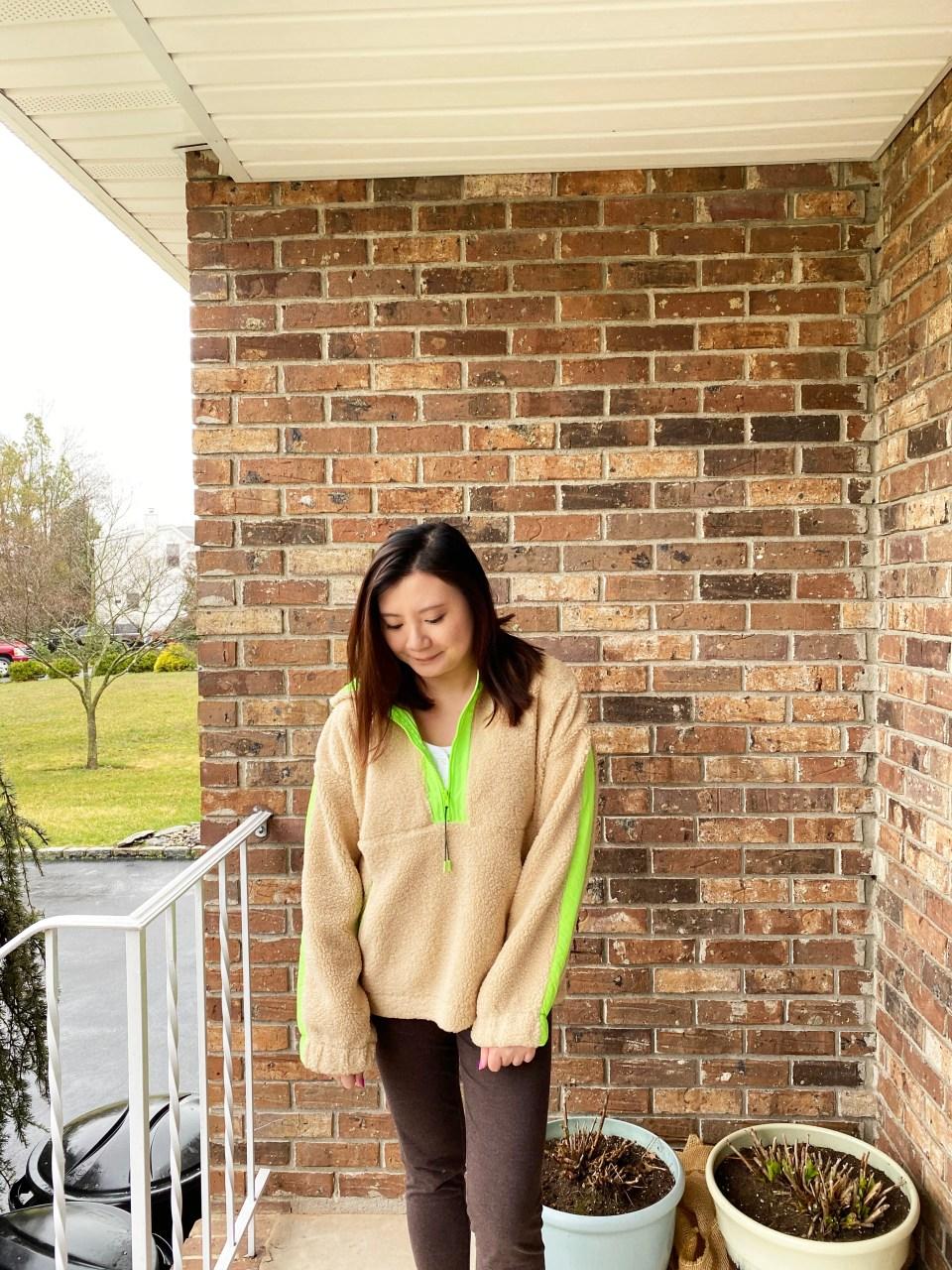 Neon Trim Shearling Pullover 8
