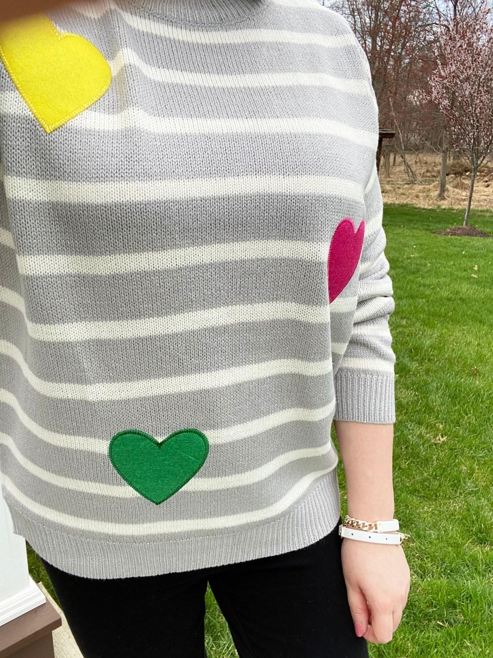 Striped Heart Applique Sweater 15