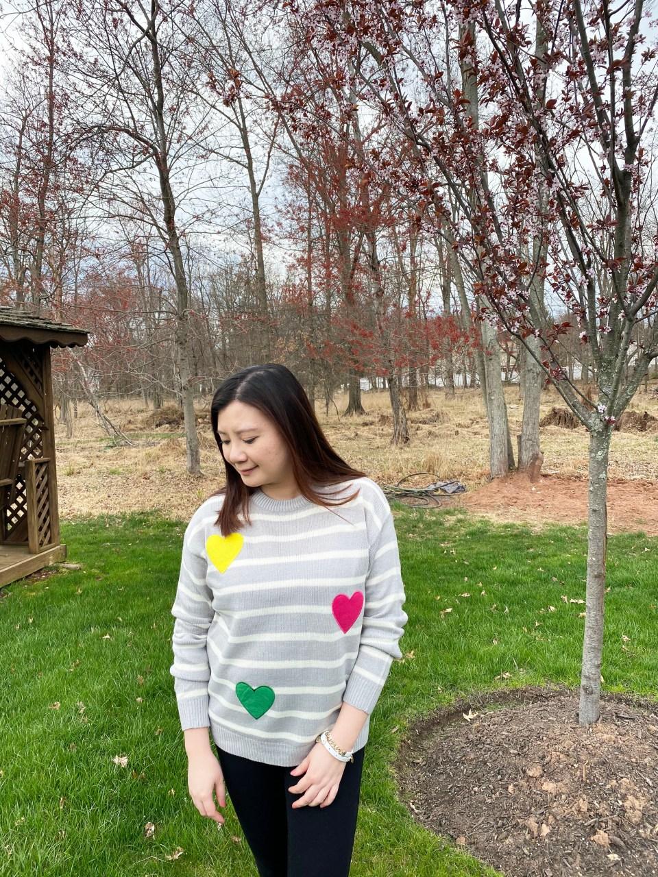 Striped Heart Applique Sweater 6