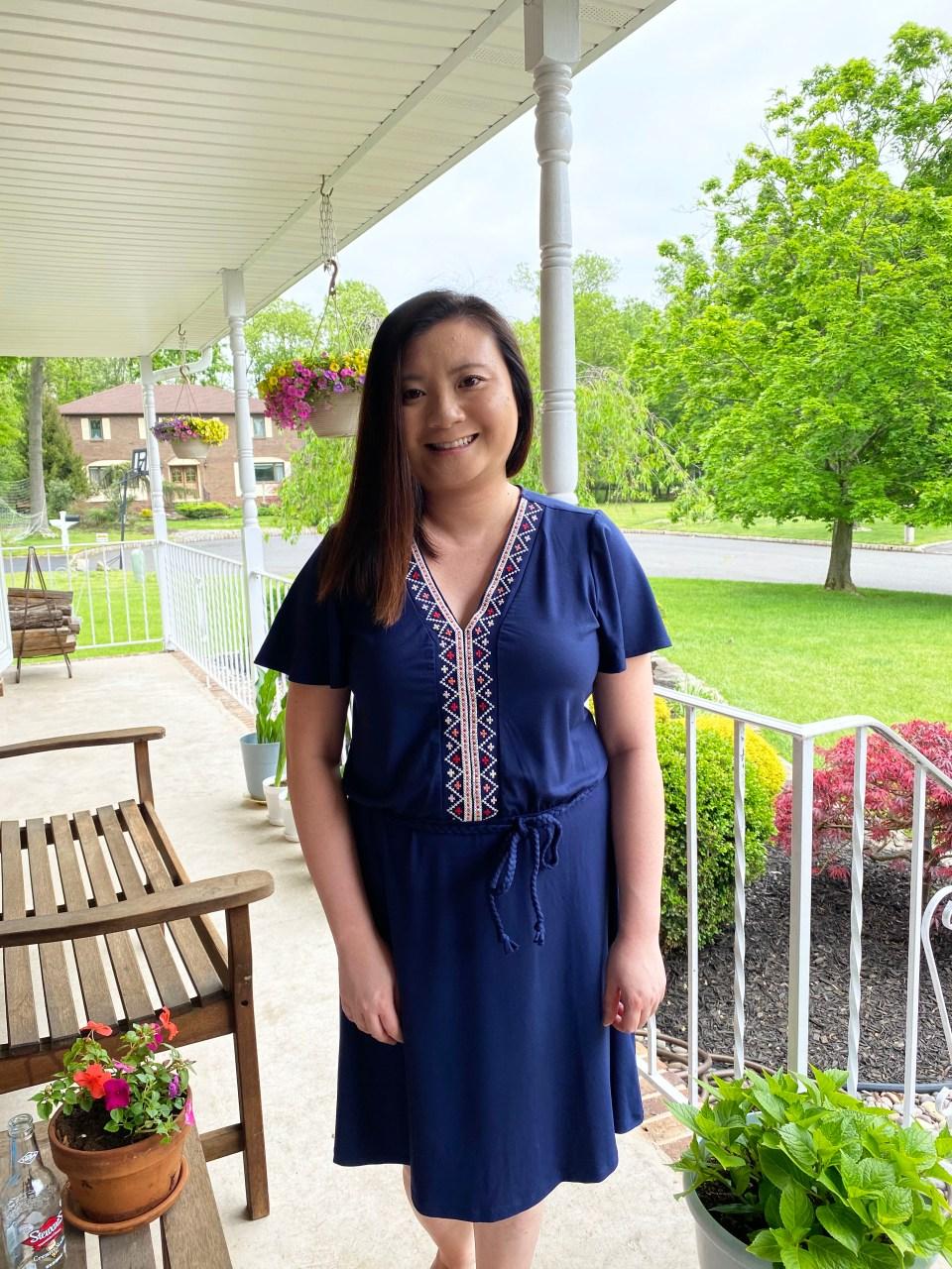 Embroidered Tie Belt Dress 17