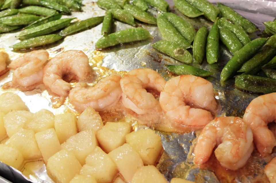 Sheet Pan Teriyaki Shrimp + Snap Peas + Pineapple 7