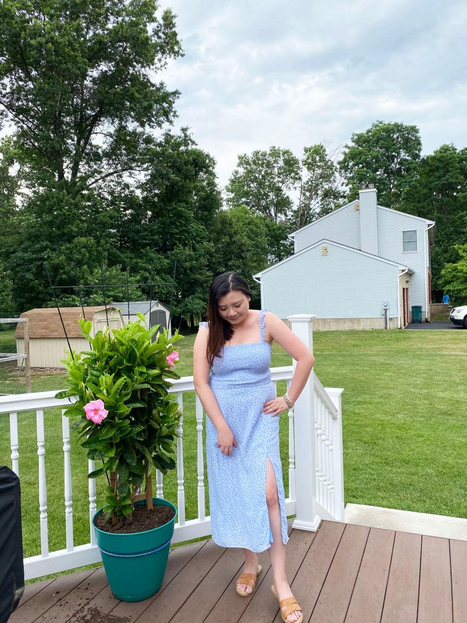 Blue Floral Smocked Dress 3