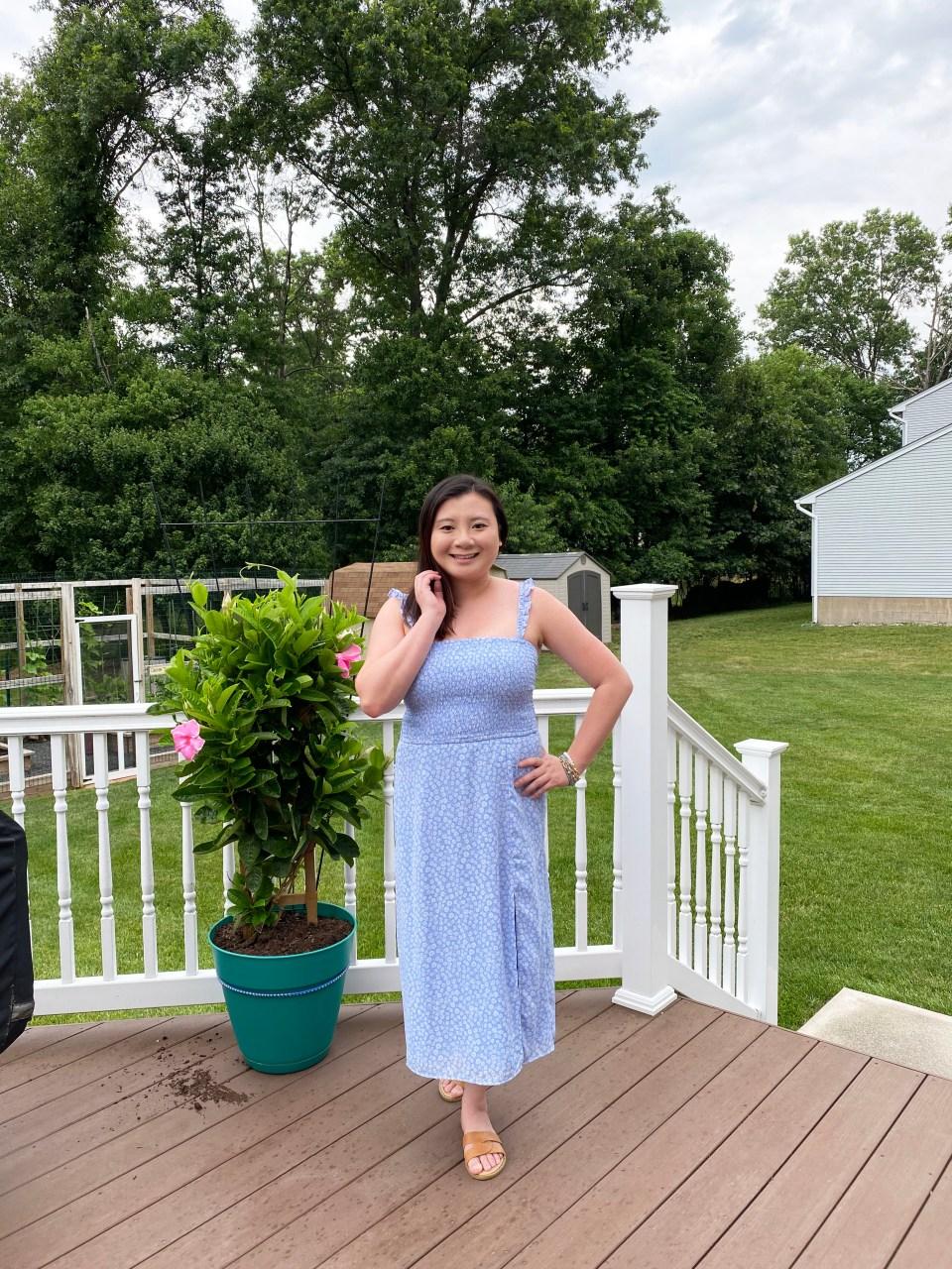 Blue Floral Smocked Dress 4