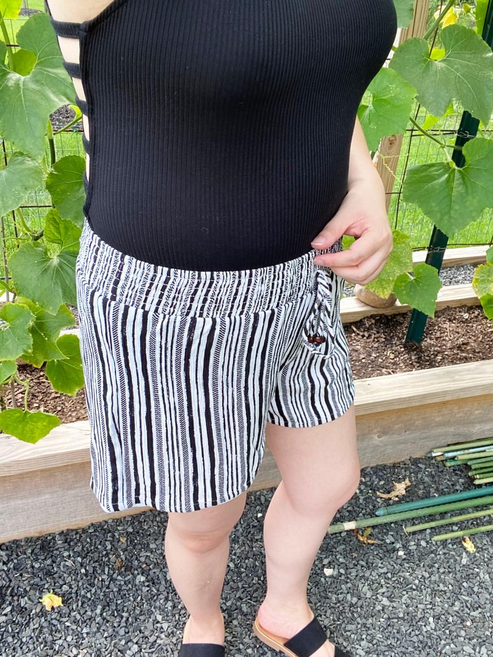 Black Bodysuit & Striped Shorts 13