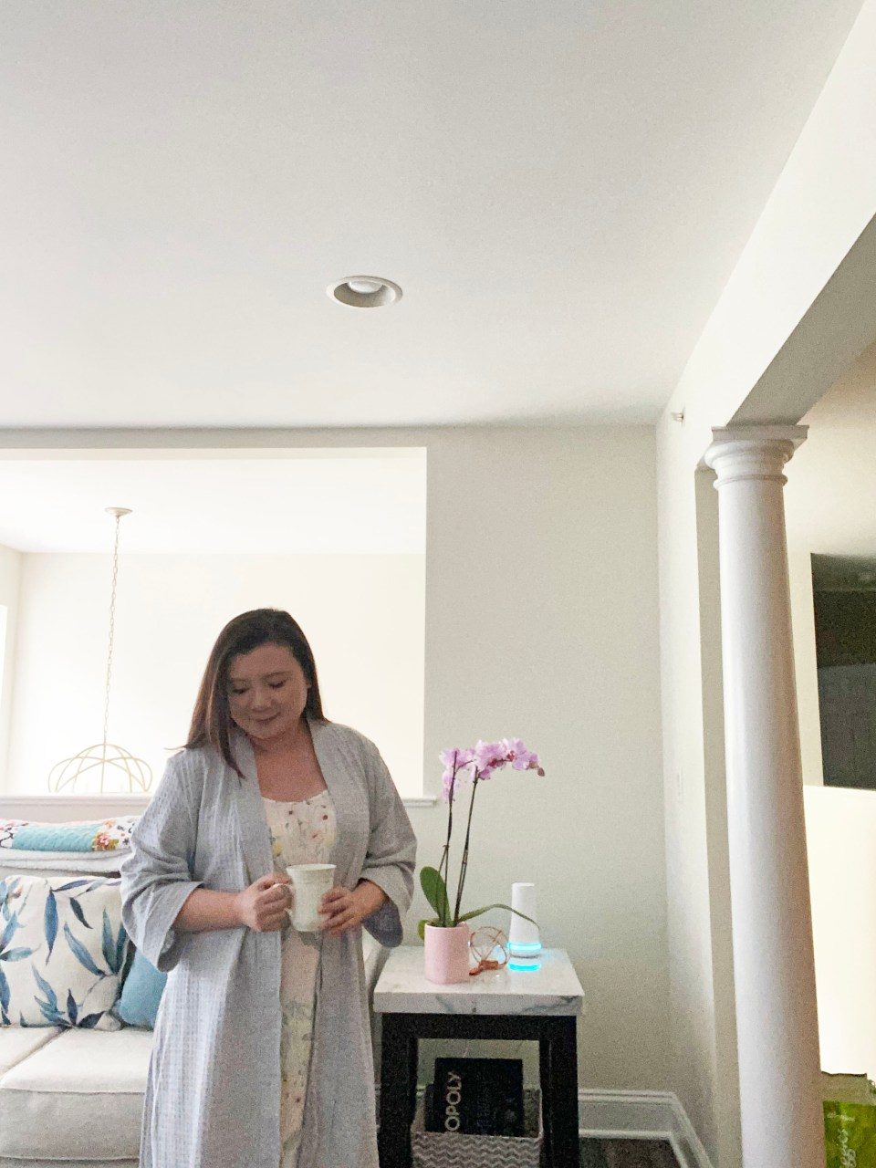 Floral Nightgown + Waffle Knit Robe 1