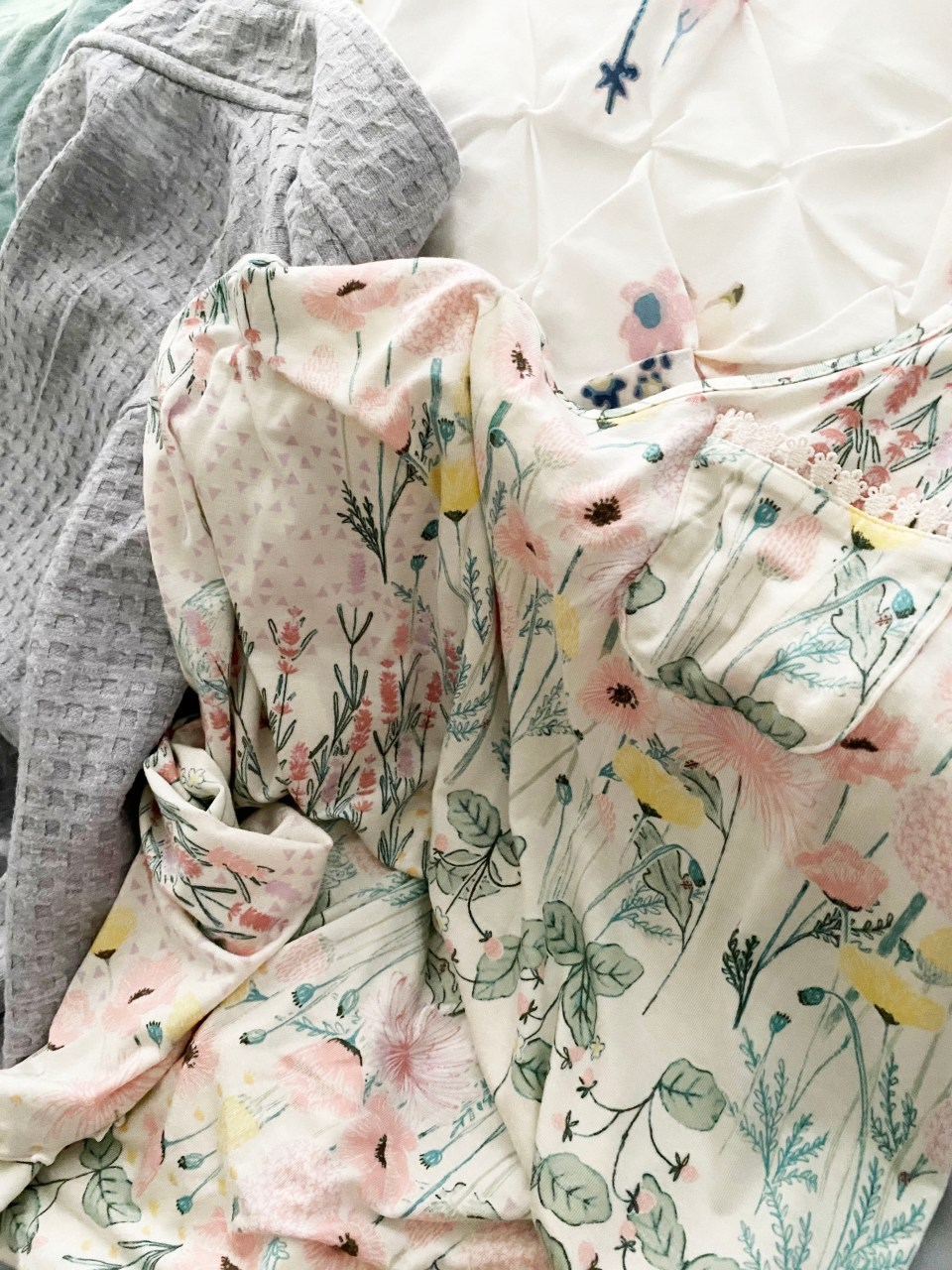 Floral Nightgown + Waffle Knit Robe 5