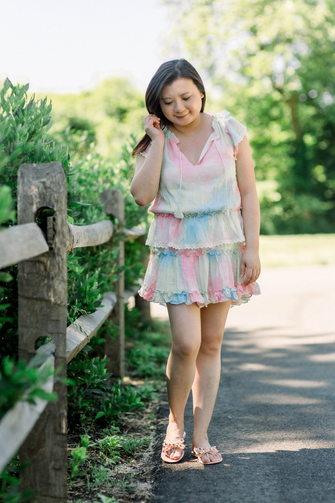 Tie Dye Tiered Ruffle Dress