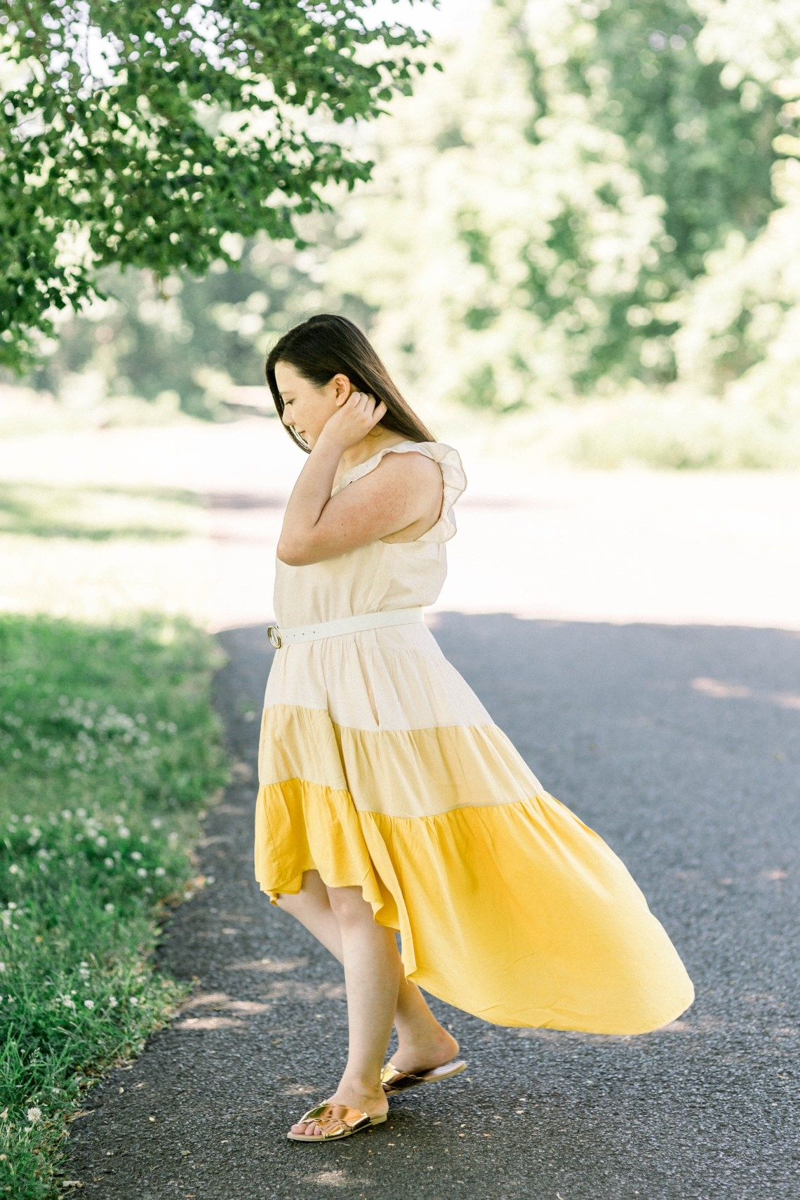 Tiered Color Block High-Low Dress