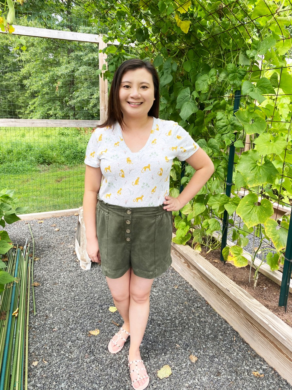 Leopard Tee + Olive Shorts 10