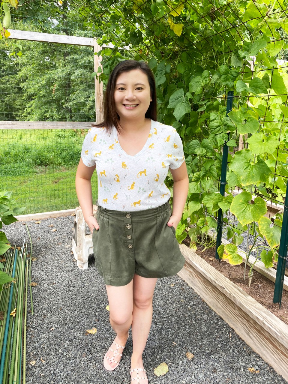 Leopard Tee + Olive Shorts 11