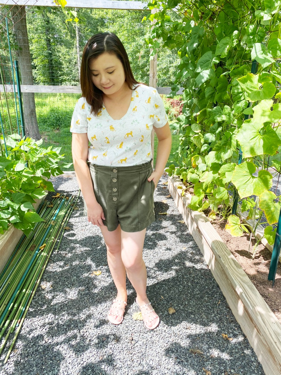 Leopard Tee + Olive Shorts 6