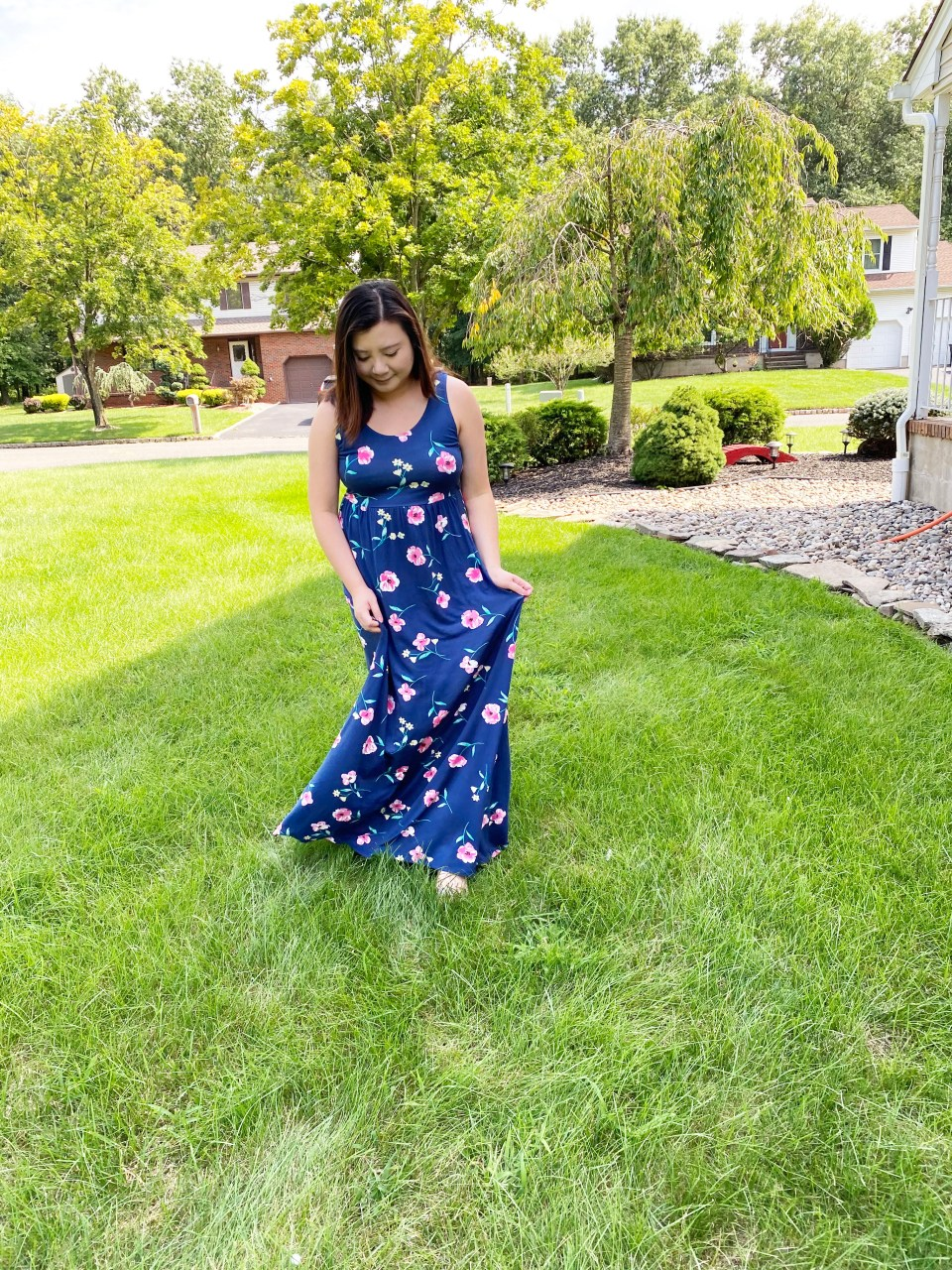 Navy Floral Maxi Dress 12