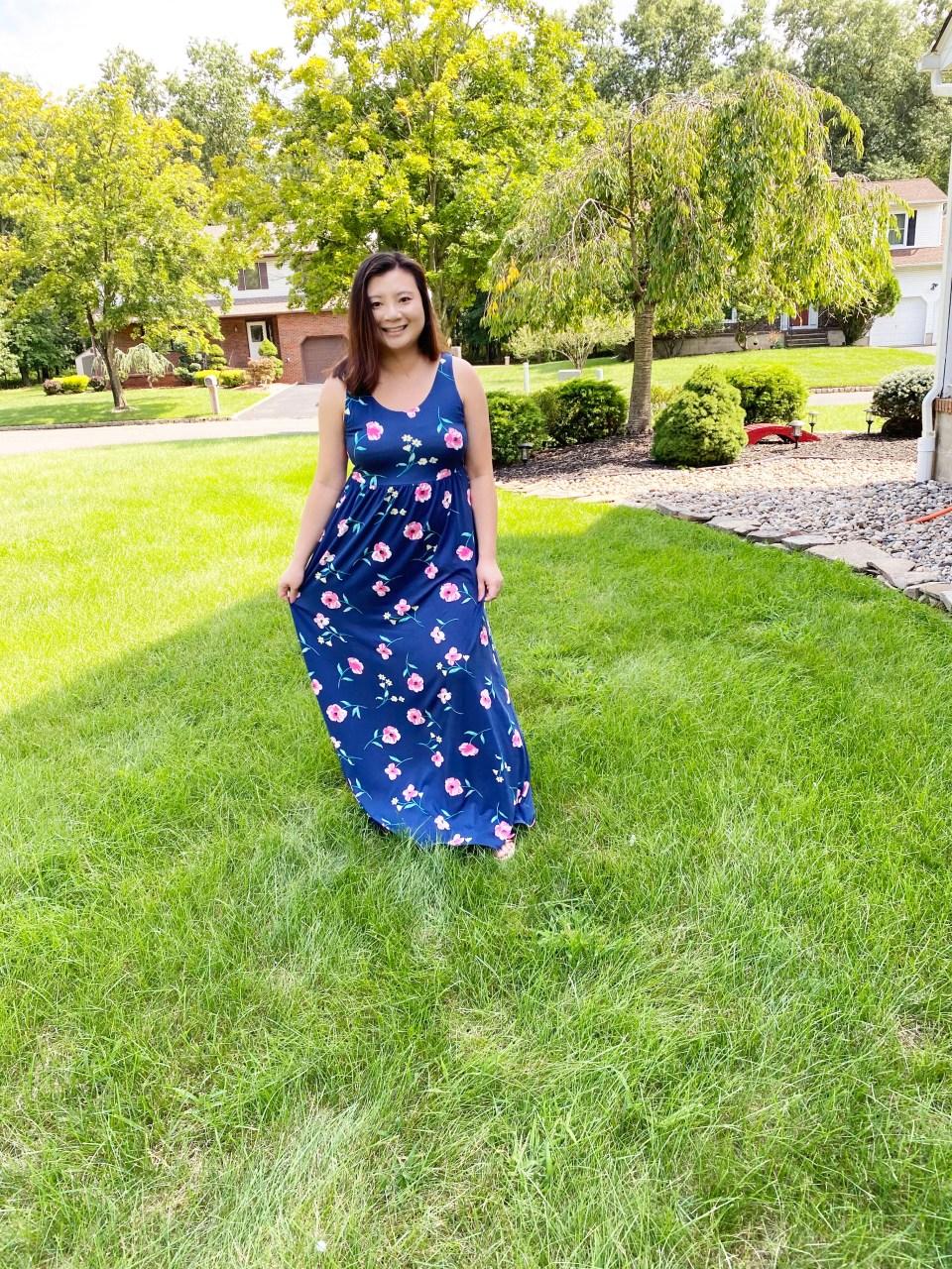 Navy Floral Maxi Dress 9