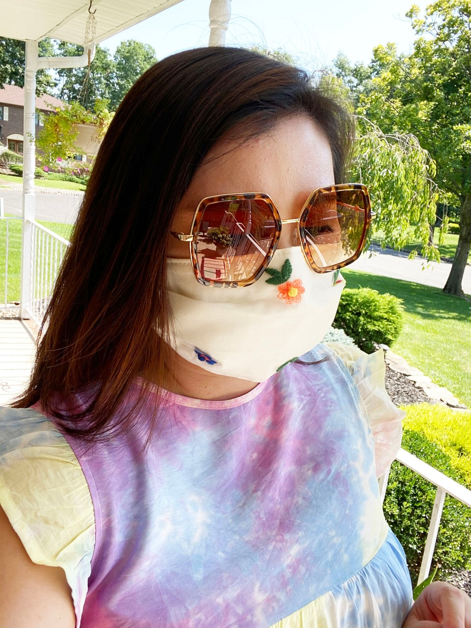Tie Dye Babydoll Dress + Embroidered Face Mask 5