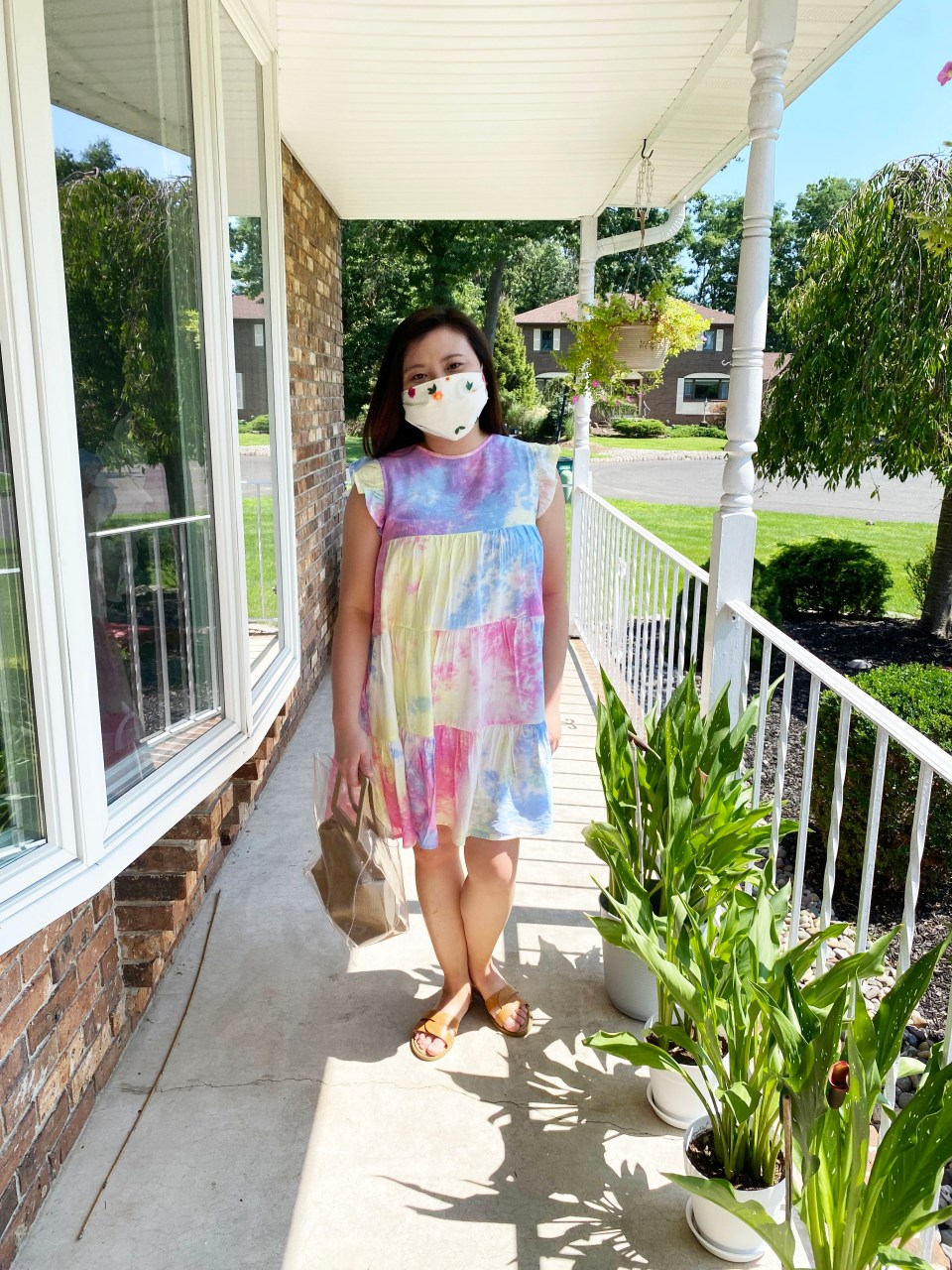 Tie Dye Babydoll Dress + Embroidered Face Mask