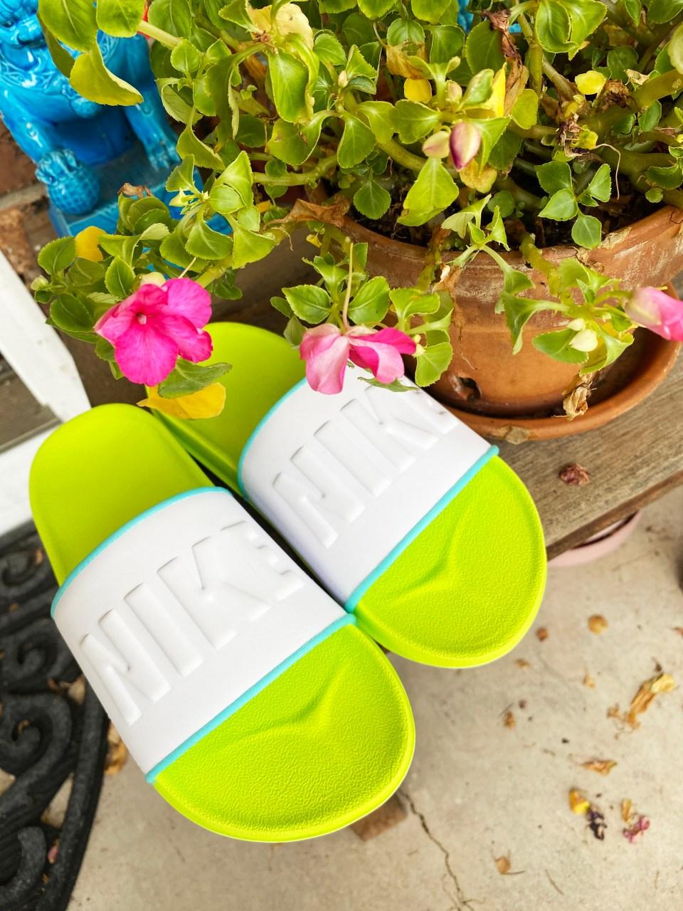White & Neon Nike Slides 10