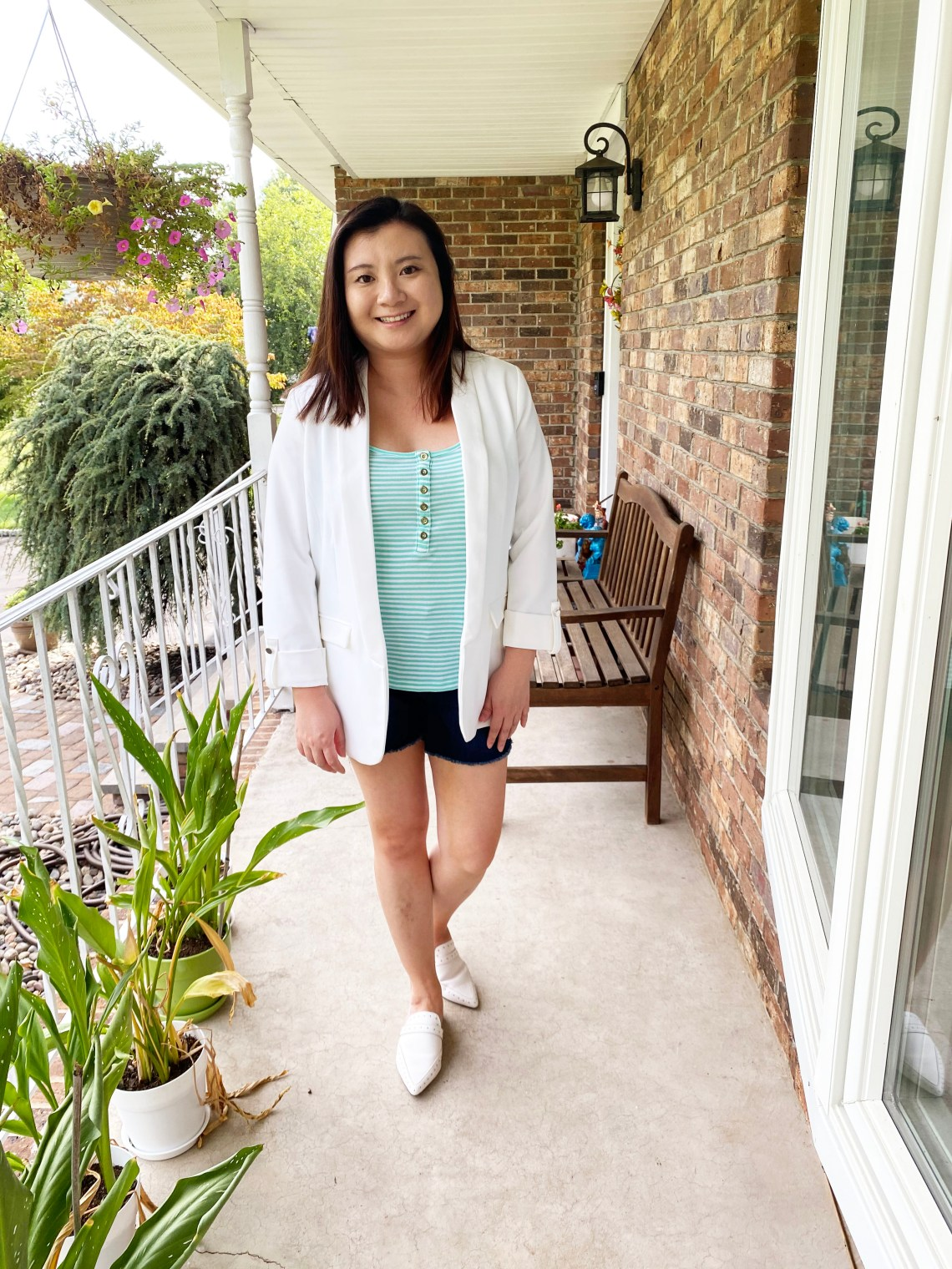 White-Blazer-Denim-Shorts
