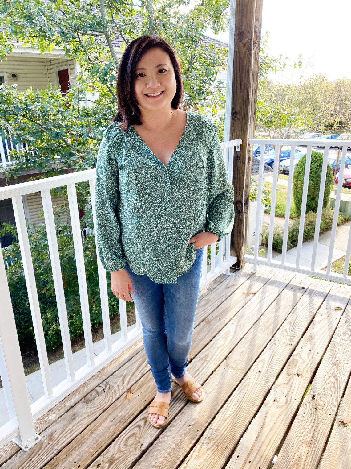 Green-Floral-Ruffle-Blouse