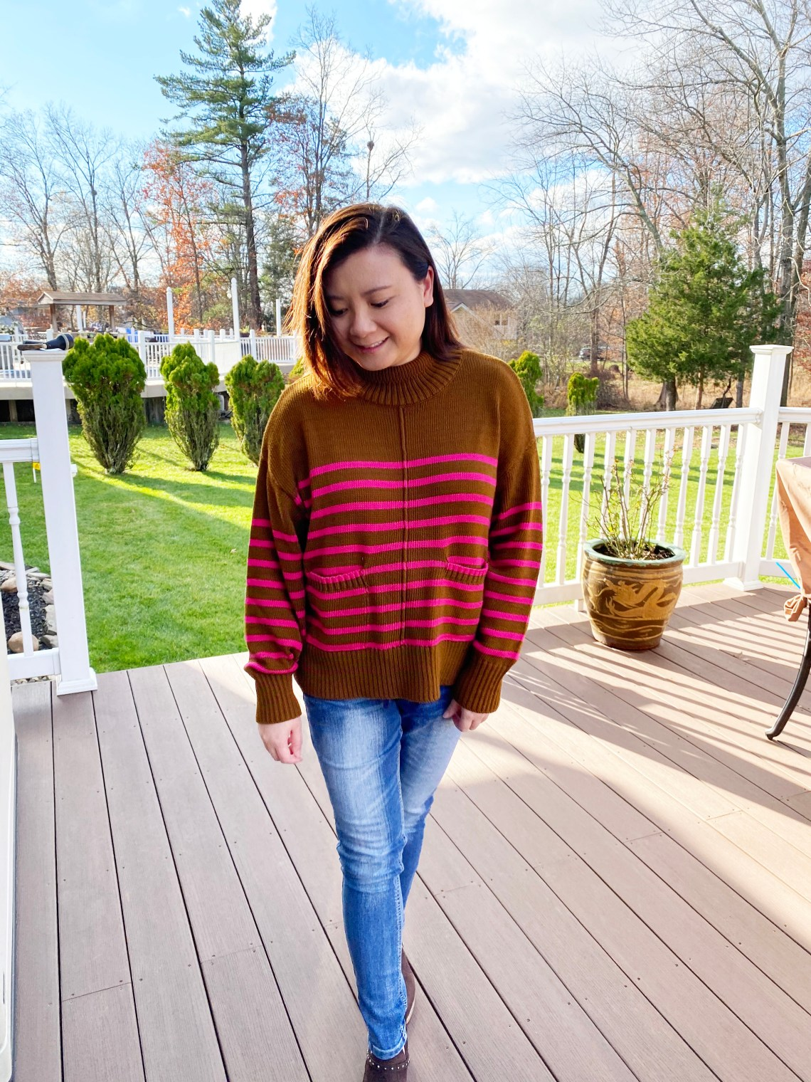 Brown-Magenta-Stripe-Sweater