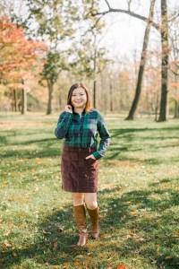 Green Plaid Flannel + Cord Skirt