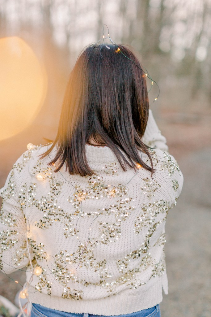 Sequin Sweater + Twinkle Lights