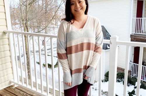 Striped-V-Neck-Tunic