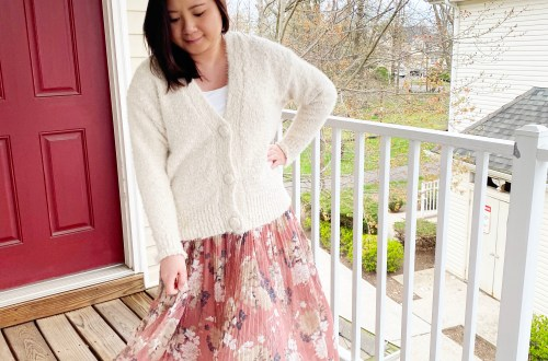 Ivory-Cardigan-Floral-Pleated-Maxi-Skirt