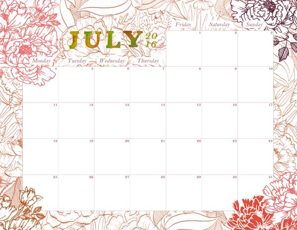 july 2016 printable calendar life after breakfast