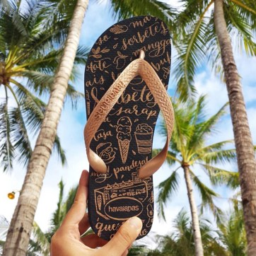 "HAVAIANAS FILIPINAS ""Lasap"" design for Havaianas Filipinos featuring a Sorbetes themed pattern of calligraphy doodles. 2015-2016."