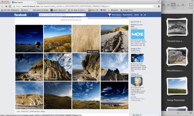 You can post straight to Facebook from Aperture