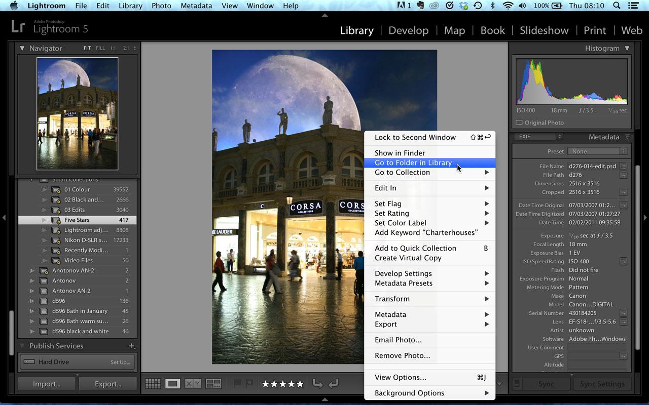 Lightroom Go to Folder in Library