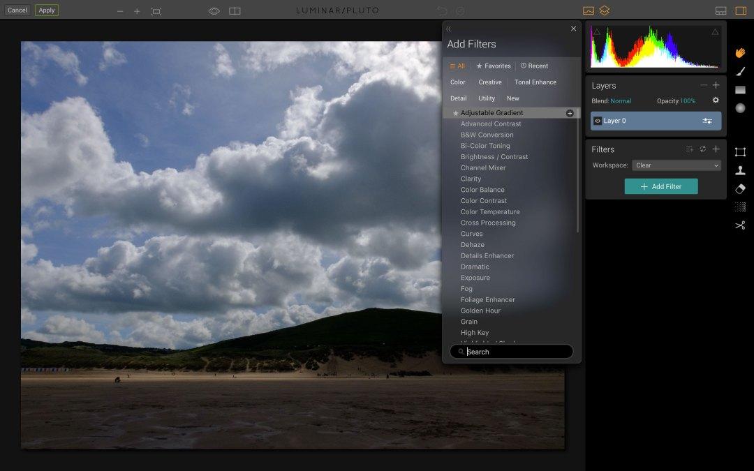 MacPhun Luminar Adjustable Gradient filter