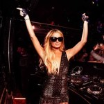 Paris Hilton pretending to DJ