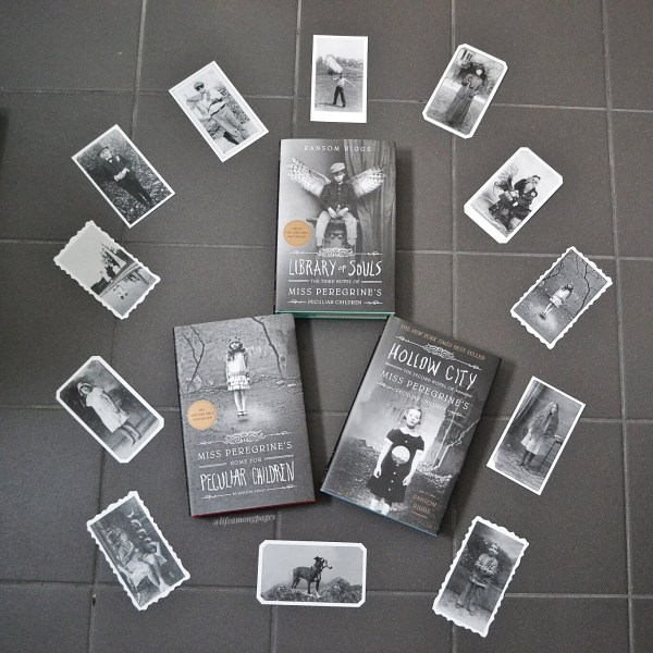 All three covers of the Miss Peregrine series, including Miss Peregrine's Home for Peculiar Children, Hollow City, and Library of Souls by Ransom Riggs, surrounded by the vintage photos from the books included in the hardcover boxset