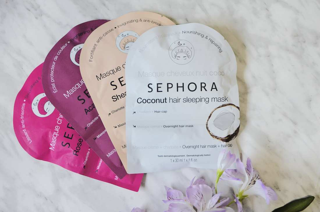 One of the unique items that Sephora came out with was the Sephora Hair Sleeping Mask - it comes with a hair cap and creme good for 3 treatments!