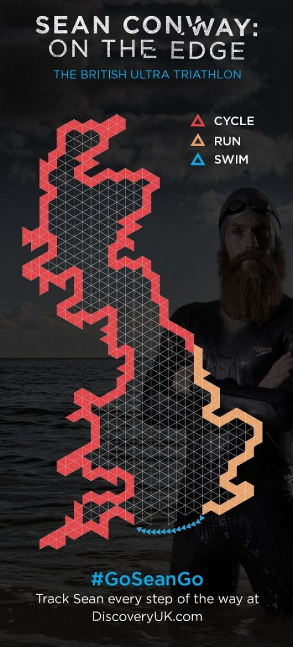 Extreme adventurer Sean Conway Ultra Triathlon map